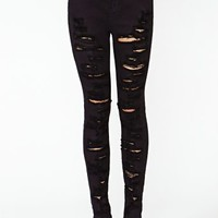 Shredded Skinny Jeans - Black