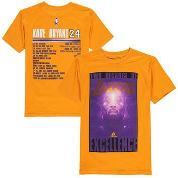 Kobe Bryant Los Angeles Lakers adidas Youth Two Decades of Excellence T-Shirt - Gold