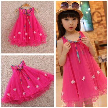 2015Summer Kids Girls Toddler Princess Sleeveless Floral Skirt Bow Dress Clothes