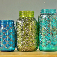 Mason Jar Lantern Morrocan Style Gunmetal Detailing on by LITdecor