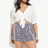 Plus Size Abstract Print Shorts