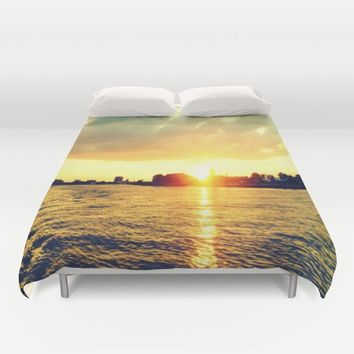 Sunset watEr :Houses Off the River Duvet Cover by 2sweet4words Designs