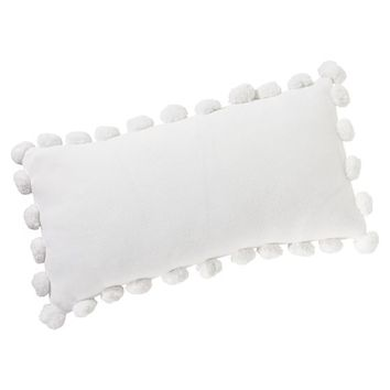 "Pom Pom Organic Pillow Cover, 12x24"", White"