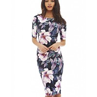 Women Dress Elegant Floral Print Work Business Casual Party Pencil Sheath