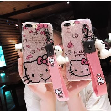 For iPhone XR Kitty Case, bling Hello Kitty Cover for iPhone XS Max X 5 5S 6 6S 6SP 7 7p 8P phone cover + toy stander + Strap
