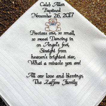 Baptism Boy Gift Baptism Favor Baptism Gift Embroidered Handkerchief Baptism Christening Gift for Boy Personalized Dated Baptism Custom Gift