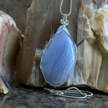 Free form pendant Blue Lace Agate sterling silver wire wrapped with a silver plated necklace