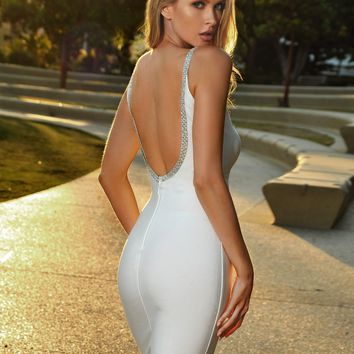 Blanche Crystal Embellished Open Back White Bandage Dress