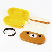 Home Use Plastic Bento Lunch Box Brown Color Microwave Rilakkuma Bento Multilayer Children Lunch Box bento box
