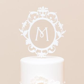 Classic Floating Monogram White Acrylic Cake Topper (Pack of 1)