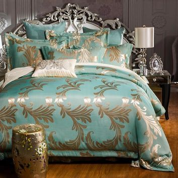 White Silk Cotton luxurious bedcloth king queen size bedspread Comforter/duvet/quilt cover bed sheet pillowcase 4pc bedding set