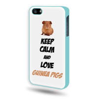 SudysAccessories Keep Calm And Love Guinea Pigs iPhone 5 Case iPhone 5S Case - Aqua Blue SoftShell Full Plastic Direct Printed Graphic Case