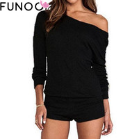 2017 Sexy Playsuits Women Jumpsuits Bodysuits One Shoulder Long Sleeve Rompers Top Shorts Casual Pull Combinaison macacao Femme