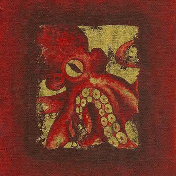 Giant Red Octopus - Art Print