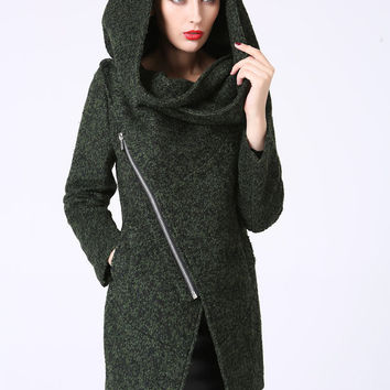 Modern Mini Wool Coat with Asymmetrical Front Zipper and Snood Hood - Forest Woodland Green (1056)