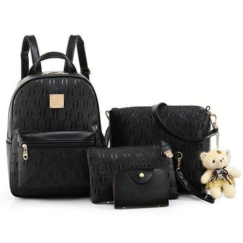 suutoop Fashion Backpack Women PU Leather Famous Brand School Girls Purse Shoulder Bags Set Bear bolsa feminina