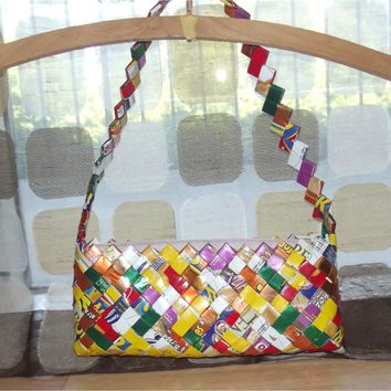 Vintage Handmade Candy Wrapper Purse | Recycled Sabrito Wrappers Clutch | Trashion Fashion Handbag