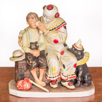 The Runaway - Clown and Boy Ceramic Figurine by Norman Rockwell