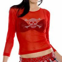Red Mesh Fishnet Shirt Gothic Vampire Skull Punk 80s