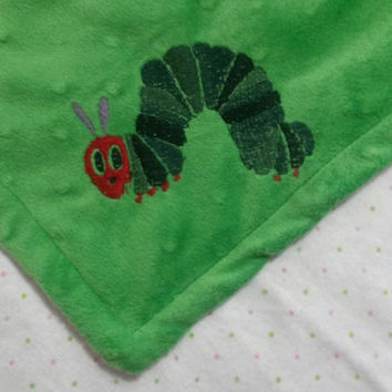 The Very Hungry Caterpillar Inspired Minky Baby Blanket (flannel, soft, gender neutral, dots)