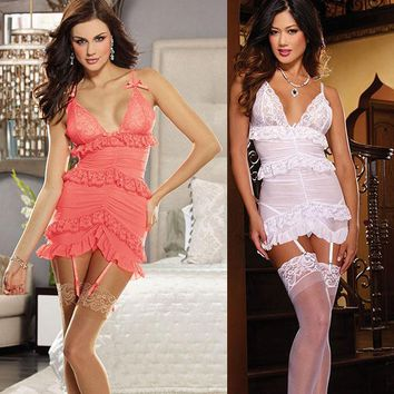 Stretch Mesh Garter Slip with Lace Trim Sexy V-Neck Babydoll Chemise Women Sleepwear Lingerie