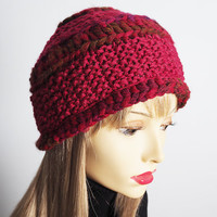 Handmade red cloche hat - Ready to ship - Chunky knit hat - RollBrim hat - Crochet hat - Womans winter hat - OOAK hat - Teen girl hat