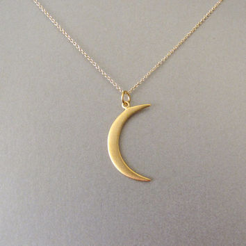 Gold Crescent Moon Necklace by tangerinejewelryshop on Etsy