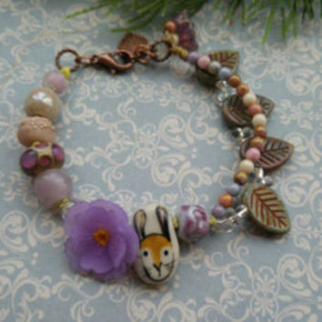 Orchid bracelet. Flower bracelet. Art jewelry. Czech glass. Ceramic. Realistic flower. Quote beads.  Fae jewelry. Uk artist. Gift for her.
