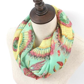 Multi color Printed Infinity Scarf