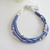 Nautical Blue Leather Bracelet with Tibetan Silver Accents and an Antique Flower Charm