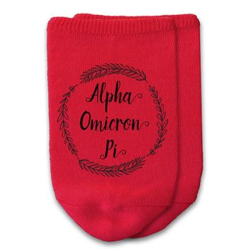 Alpha Omicron Pi - Sorority Name with Wreath No-Show Socks