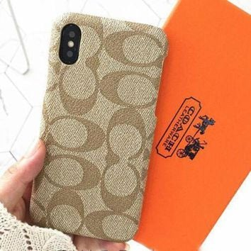 COACH New Fashion iPhone Phone Cover Case For iphone 6 6s 6plus 6s-plus 7 7plus 8 8plus X(4-Color)