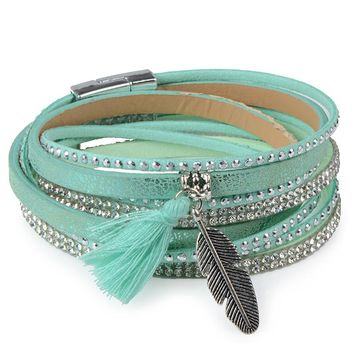 13styles Candy Wide Crystal Leather Velvet Boho Bracelet Magnetic Buckle Bohemian Tassel Bracelet For Women Men Boho Jewelry