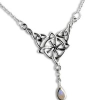 "Sterling Silver Celtic Knot Four Point North Star with Genuine Rainbow Moonstone Drop 17"" Adjustable Necklace:Amazon:Jewelry"