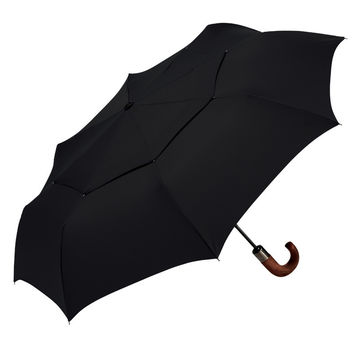 ShedRain WindPro Wood Handled Auto Open and Close Umbrella in Black