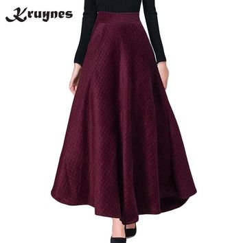 Winter A Line Plaid Skirt Faldas Mujer Women Elastic High Waist Casual Thick Long Maxi Wool Skirt big swing Skirt female