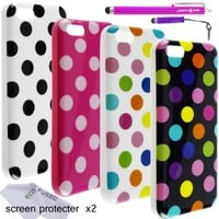 iPhone 5C Case Bundle including 4 Colorful TPU Polka Dot Cases for Apple iPhone 5C / 2 Stylus Pens (1 long, 1 short) / 2 Screen Protectors / 1 ECO-FUSED Microfiber Cleaning Cloth (Multicolor Black/Multicolor White/Black & White/Pink & White)