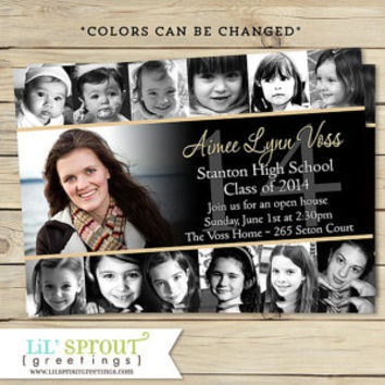 Collage Style Graduation Announcement Invitation -Print Your Own