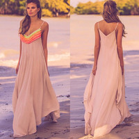 V-neck Spaghetti Strap Hem Loose Casual Long Maxi Beach Dress