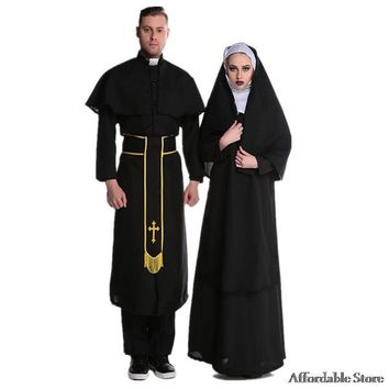 Halloween male priest nuns cosplay costume couple Cosplay priest clothing repair women's stage clothing