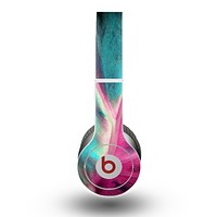 The Neon Pink & Green Leaf Skin for the Beats by Dre Original Solo-Solo HD Headphones