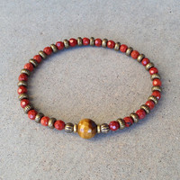 "Red Jasper and Tiger´s Eye fine faceted ""grounding and prosperity"" bracelet"