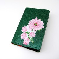 Vinyl Book Cover for Moleskine Pocket Cahier Journal, Appliqued Oilcloth Design, emerald green sparkle / pink and orange grannyflowers