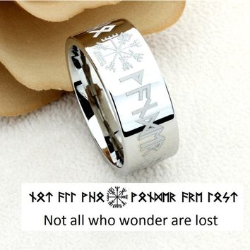 9mm/12mm Tungsten Wedding Band Tungsten Promise Ring Viking Futhark Runes Vegvisir Viking Guidance Compass Symbol Personalized Custom Ring