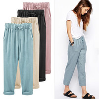 Summer 100% Cotton Loose Breathable Pants for Women