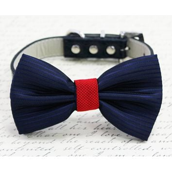 Navy Red Dog Bow tie, Pet Wedding, Navy Red Wedding pet collar ideas