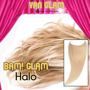 """Halo Type Hair Extensions, 100% Cuticle Remy, 20"""", Silky Straight, Light Blonde"""