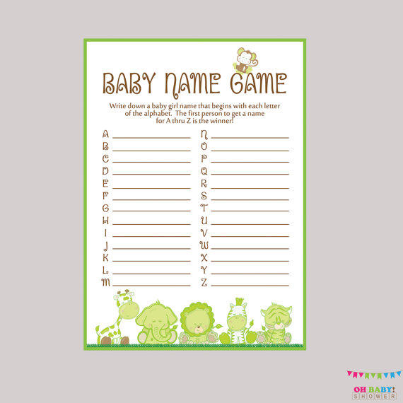 picture about Celebrity Baby Name Game Printable referred to as Gender Impartial Child Shower Youngster Popularity Sport - Safari Child Popularity Race Sport Printable Down load A toward Z Child Video game Safari Little one Shower Activity BS0001-G