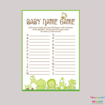 Gender Neutral Baby Shower Baby Name Game - Safari Baby Name Race Game Printable Download  A to Z Baby Game Safari Baby Shower Game BS0001-G