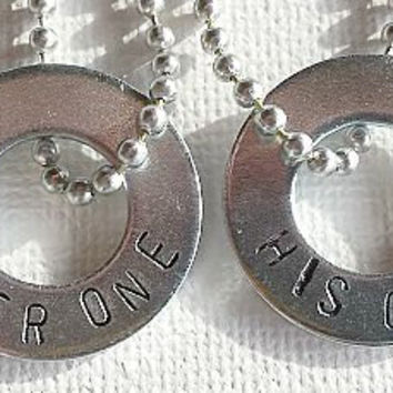 Her One His Only Necklace, Handstamped Washer Jewelry, Boyfriend Girlfriend